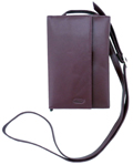 Leather wallet / Purse with strap / Burgundy
