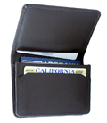 Flip top leather wallet / Dark Brown
