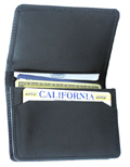 Flip top leather wallet / Black