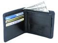 Double fold leather wallet with pocket / Black
