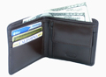 Double fold leather wallet with pocket / Dark Brown