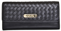 Leatherbay Tri-Fold Clutch  with Weaved Flap/Black