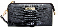 Leatherbay Croc Accordian Style Clutch/Black