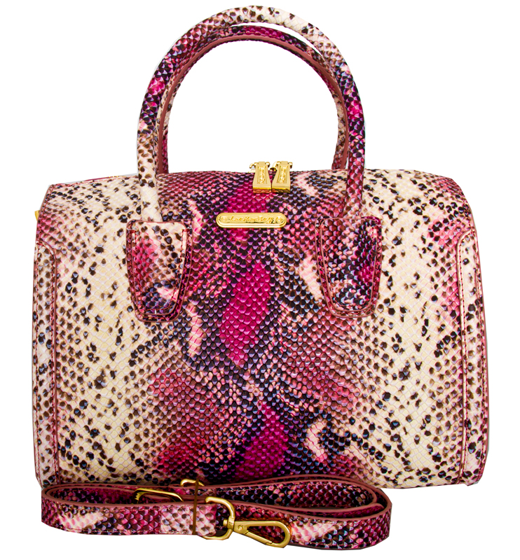 Aversa Italian Leather Snake Print Handbag Pink Black