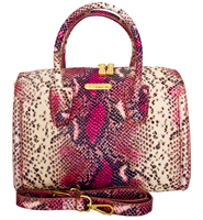 Aversa - Italian Leather Snake Print Handbag/Pink-Black