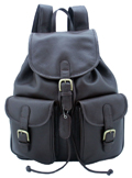 Leather Backpack with pockets / Dark Brown