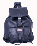 Leather Backpack with single pocket / Black