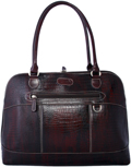 Leatherbay Brush off-Croc Laptop Case / Dark Burgundy