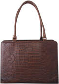 Leatherbay Croc Laptop case / Cognac