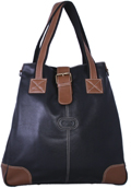Milan Leather Tote - Black/Antique Tan